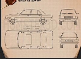 Peugeot 305 sedan 1977 Blueprint