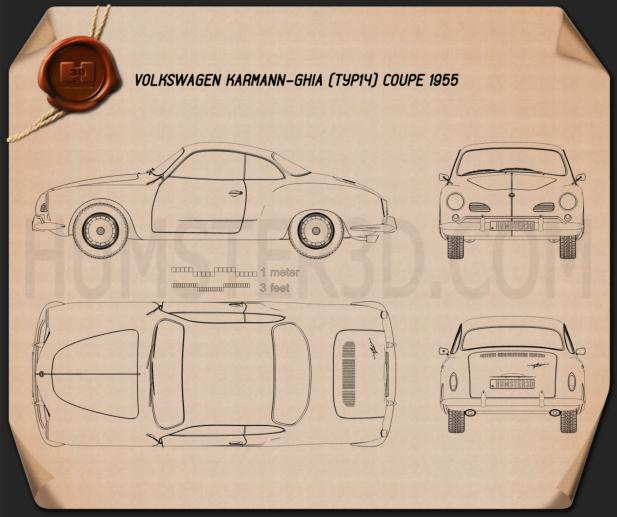 Volkswagen Karmann Ghia 1955 Blueprint