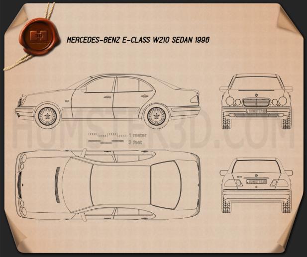 Mercedes-Benz E-class sedan (W210) 1996 Blueprint