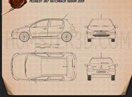 Peugeot 307 5-door hatchback 2001 Blueprint