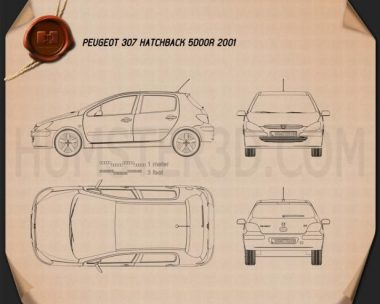 Peugeot 307 5-door hatchback 2001 Blueprint