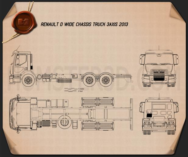Renault D Wide Chassis Truck 2013 Blueprint