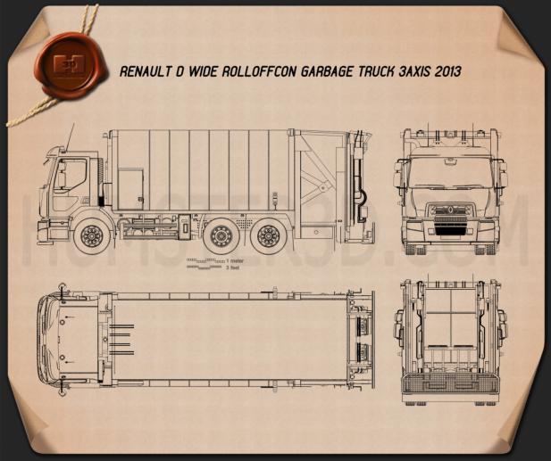 Renault D Wide Rolloffcon Garbage Truck 2013 Blueprint