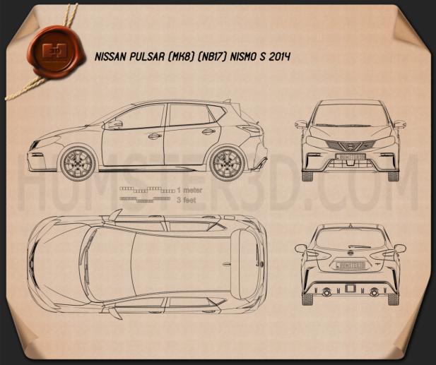 Nissan Pulsar (NB17) Nismo S 2014 Blueprint