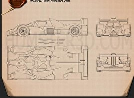 Peugeot 908 hybrid4 2012 Blueprint
