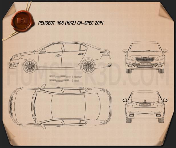 Peugeot 408 (CN) 2014 Blueprint