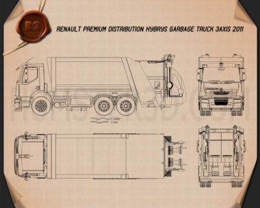 Renault Premium Distribution Hybrys Garbage Truck 2011 Blueprint