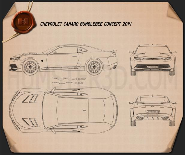 Chevrolet Camaro Bumblebee 2014 Blueprint