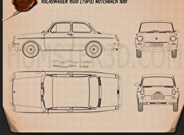 Volkswagen 1500 (Type 3) notchback 1961 Blueprint