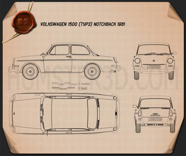 Volkswagen 1500 (Type 3) notchback 1961 Blueprint
