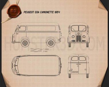 Peugeot D3A camionette 1954 Blueprint