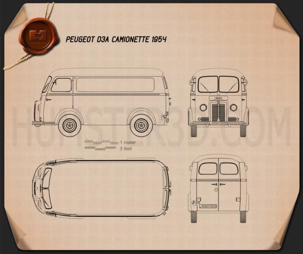 Peugeot D3A camionette 1954 Planta
