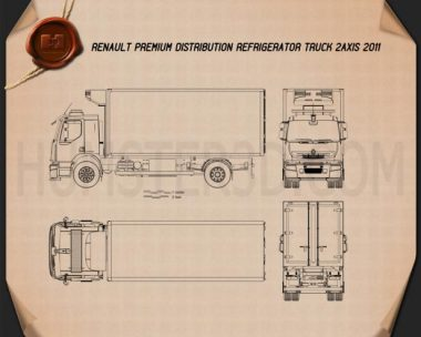 Renault Premium Distribution Refrigerator Truck 2011 Blueprint