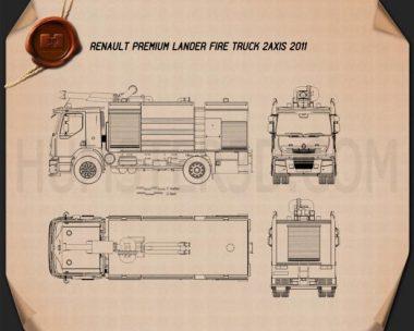 Renault Premium Lander Fire Truck 2011 Blueprint