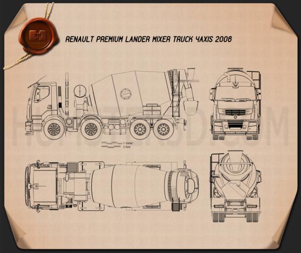 Renault Premium Lander Mixer Truck 2006 Blueprint