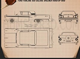 Ford Fairlane 500 Galaxie Skyliner 1959 Blueprint