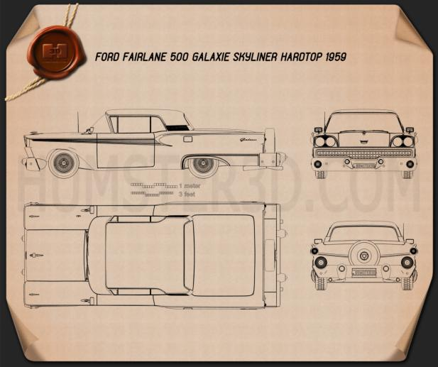 Ford Fairlane 500 Galaxie Skyliner 1959 Blueprint