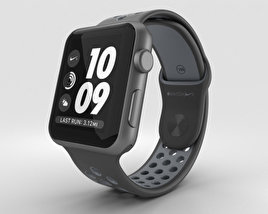 3D model of Apple Watch Nike+ 42mm Space Gray Aluminum Case Black/Cool Nike Sport Band