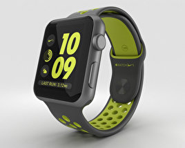 3D model of Apple Watch Nike+ 42mm Space Gray Aluminum Case Black/Volt Nike Sport Band