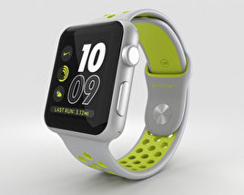 3D model of Apple Watch Nike+ 42mm Silver Aluminum Case Flat Silver/Volt Nike Sport Band