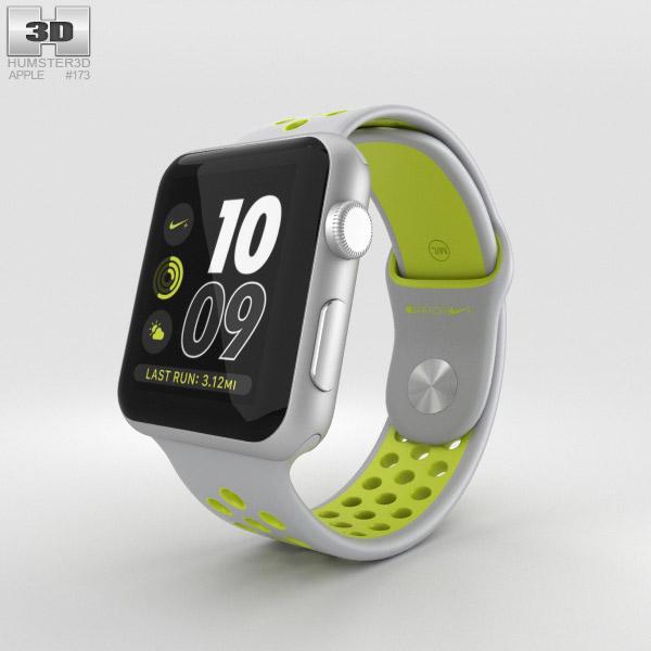 Apple Watch Nike+ 42mm Silver Aluminum Case Flat Silver/Volt Nike Sport Band 3D model