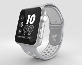 3D model of Apple Watch Nike+ 42mm Silver Aluminum Case Flat Silver/White Nike Sport Band
