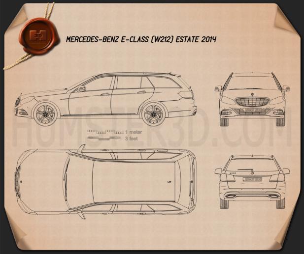 Mercedes-Benz E-class estate (W212) 2014 Blueprint
