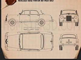 Mercedes-Benz Ponton 180 W120 1953 Blueprint