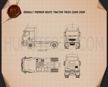 Renault Premium Route Tractor Truck 2006 Blueprint
