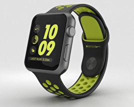 3D model of Apple Watch Nike+ 38mm Space Gray Aluminum Case Black/Volt Nike Sport Band