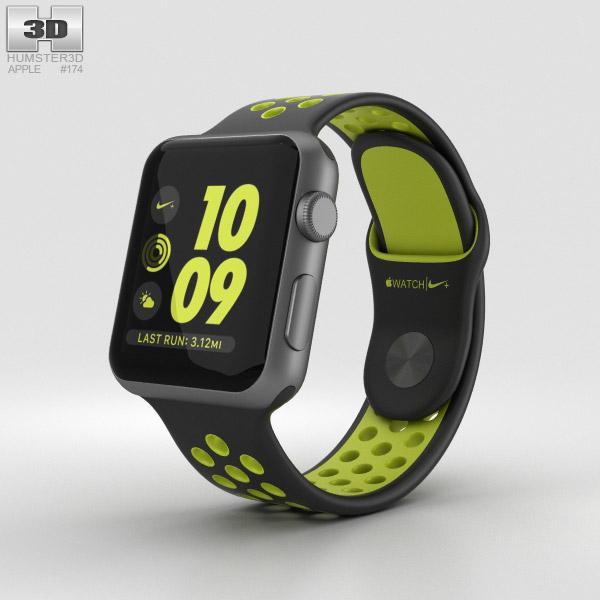 Apple Watch Nike+ 38mm Space Gray Aluminum Case Black/Volt Nike Sport Band 3D model