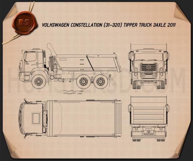Volkswagen Constellation Tipper Truck 2011 Blueprint