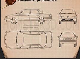 Volkswagen Passat (B3) sedan 1988 Blueprint