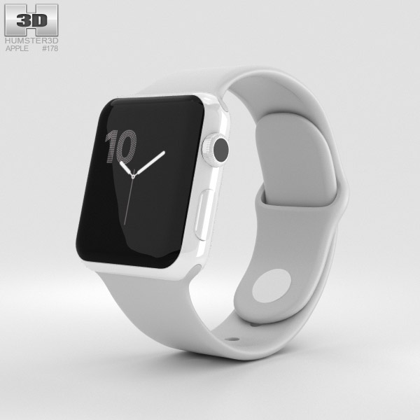 Apple Watch Edition Series 2 38mm White Ceramic Case Cloud Sport Band 3D model