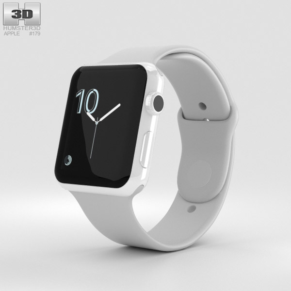 Apple Watch Edition Series 2 42mm White Ceramic Case Cloud Sport Band 3D model