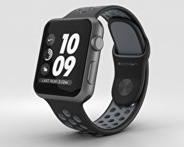 3D model of Apple Watch Nike+ 38mm Space Gray Aluminum Case Black/Cool Nike Sport Band