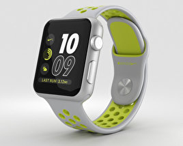3D model of Apple Watch Nike+ 38mm Silver Aluminum Case Flat Silver/Volt Nike Sport Band