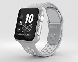 3D model of Apple Watch Nike+ 38mm Silver Aluminum Case Flat Silver/White Nike Sport Band