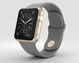 3D model of Apple Watch Series 2 38mm Gold Aluminum Case Concrete Sport Band