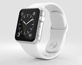 3D model of Apple Watch Series 2 38mm Silver Aluminum Case White Sport Band