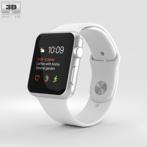 Apple Watch Series 2 42mm Silver Aluminum Case White Sport Band 3D model