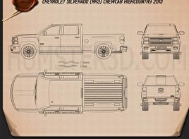 Chevrolet Silverado Crew Cab High Country 2014 Blueprint