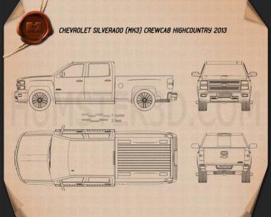 Chevrolet Silverado Crew Cab High Country 2014 Blueprint
