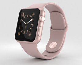 3D model of Apple Watch Series 2 38mm Rose Gold Aluminum Case Pink Sand Sport Band