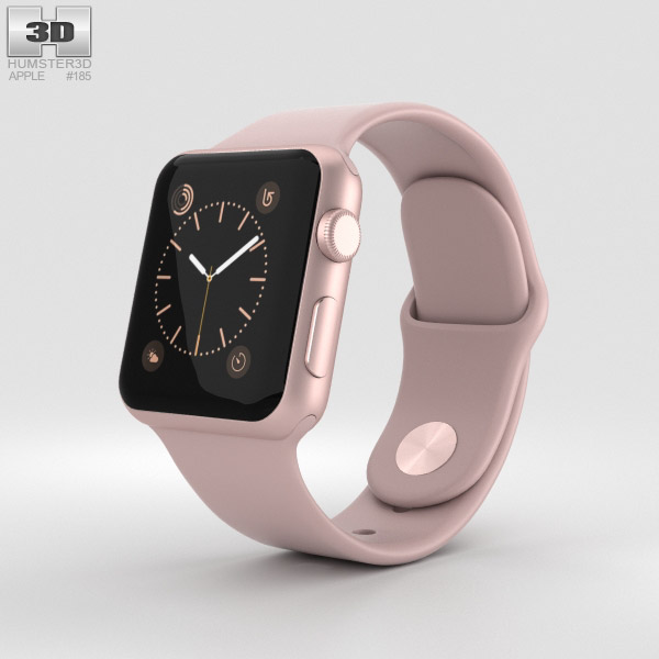Apple Watch Series 2 38mm Rose Gold Aluminum Case Pink Sand Sport Band 3D model