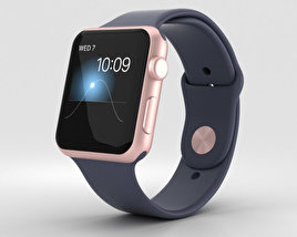 3D model of Apple Watch Series 2 42mm Rose Gold Aluminum Case Midnight Blue Sport Band