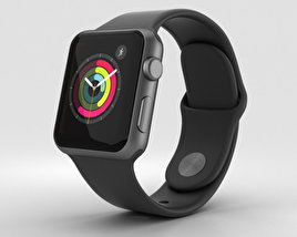 3D model of Apple Watch Series 2 38mm Space Gray Aluminum Case Black Sport Band
