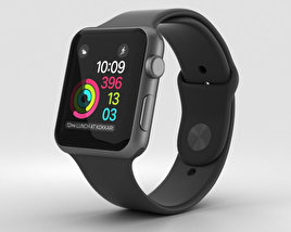 3D model of Apple Watch Series 2 42mm Space Gray Aluminum Case Black Sport Band
