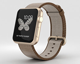 3D model of Apple Watch Series 2 42mm Gold Aluminum Case Toasted Coffee/Caramel Woven Nylon