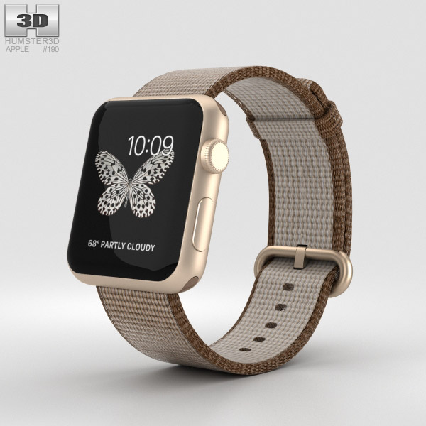 Apple Watch Series 2 42mm Gold Aluminum Case Toasted Coffee/Caramel Woven Nylon 3D model